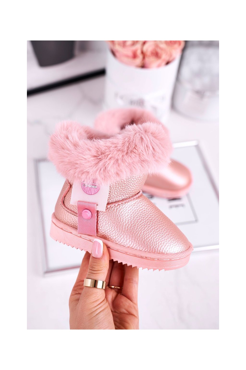 Detské snehule farba ružová kód obuvi LD27 PINK