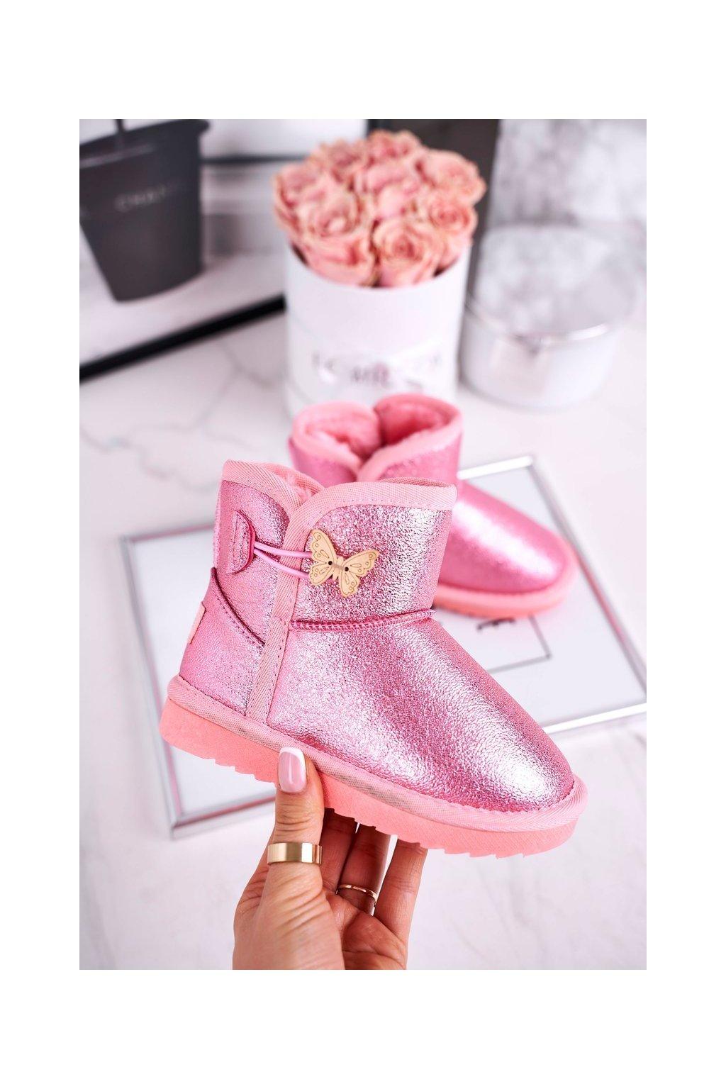 Detské snehule farba ružová kód obuvi N228 / N229 PINK