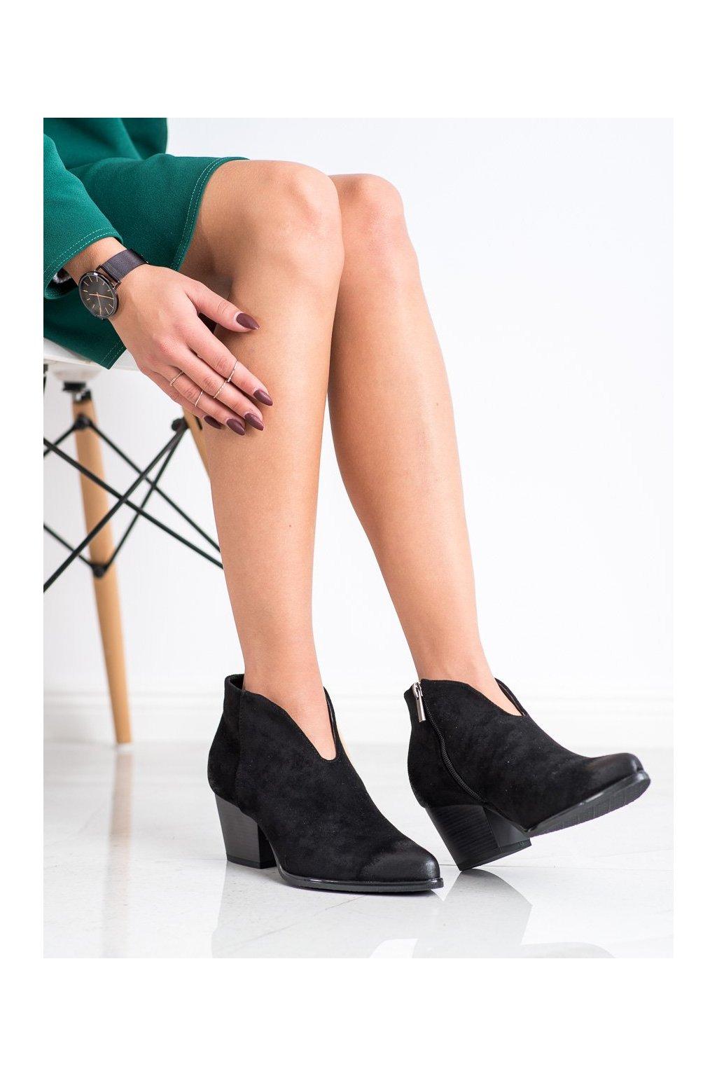 Čierne dámske topánky Vinceza kod XY21-10542B