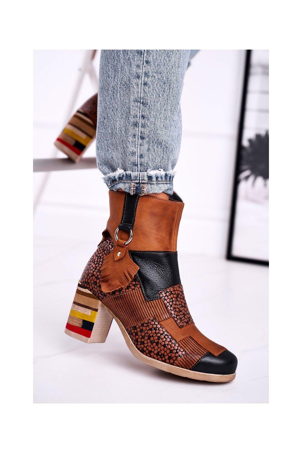 Členkové topánky na podpätku farba hnedá kód obuvi 04635-29 RUDY