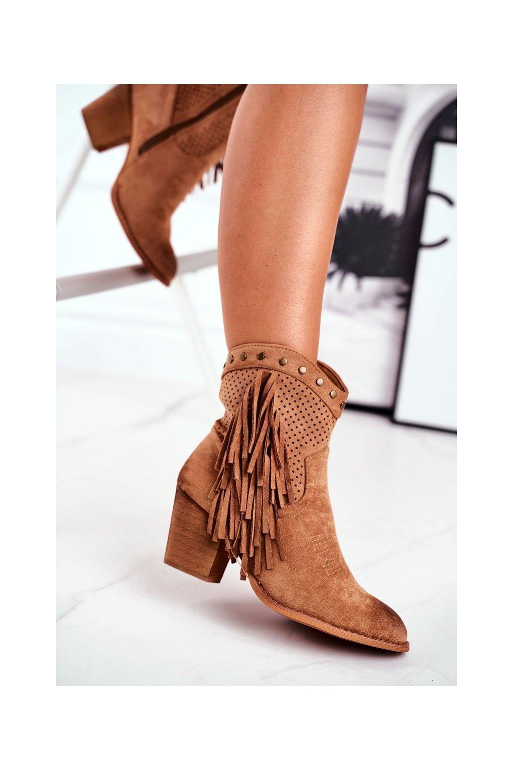 Členkové topánky na podpätku farba hnedá kód obuvi D7669 KHAKI
