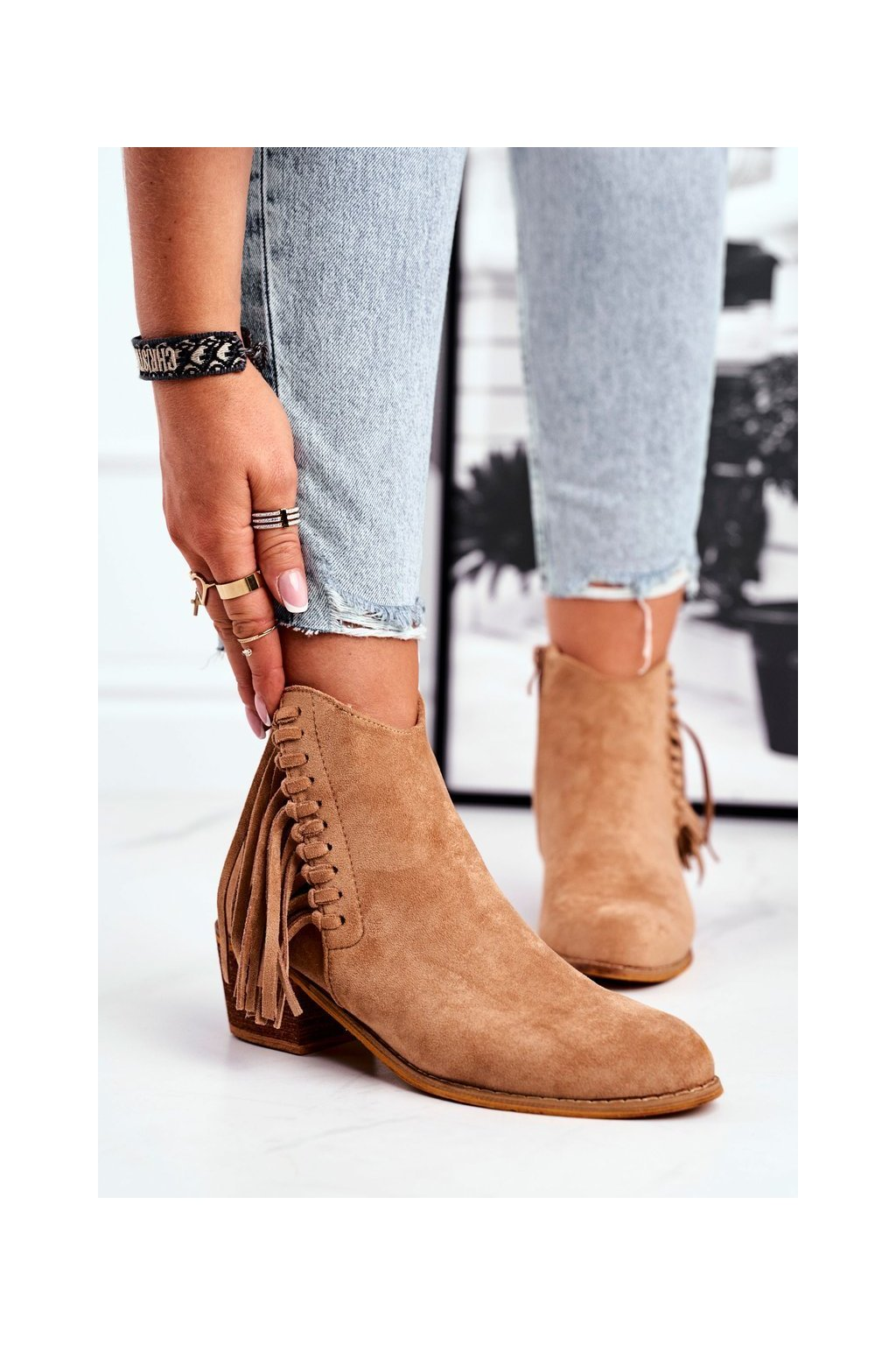 Členkové topánky na podpätku farba hnedá kód obuvi 9475Y KHAKI