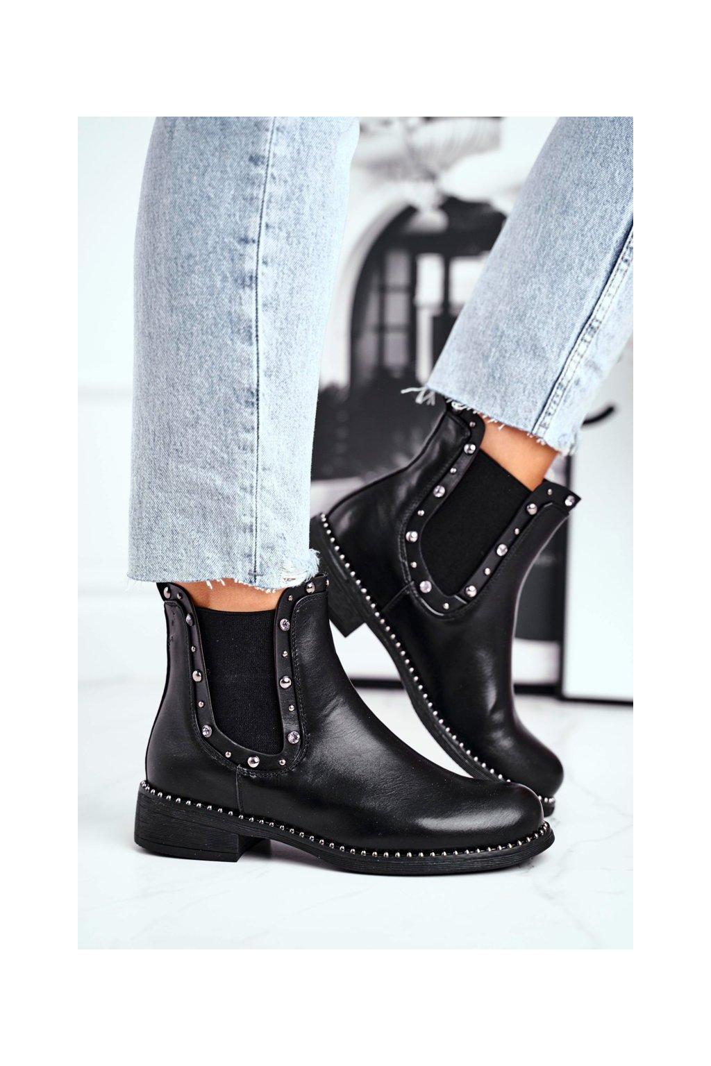 Členkové topánky na podpätku farba čierna kód obuvi 7586-PA BLK