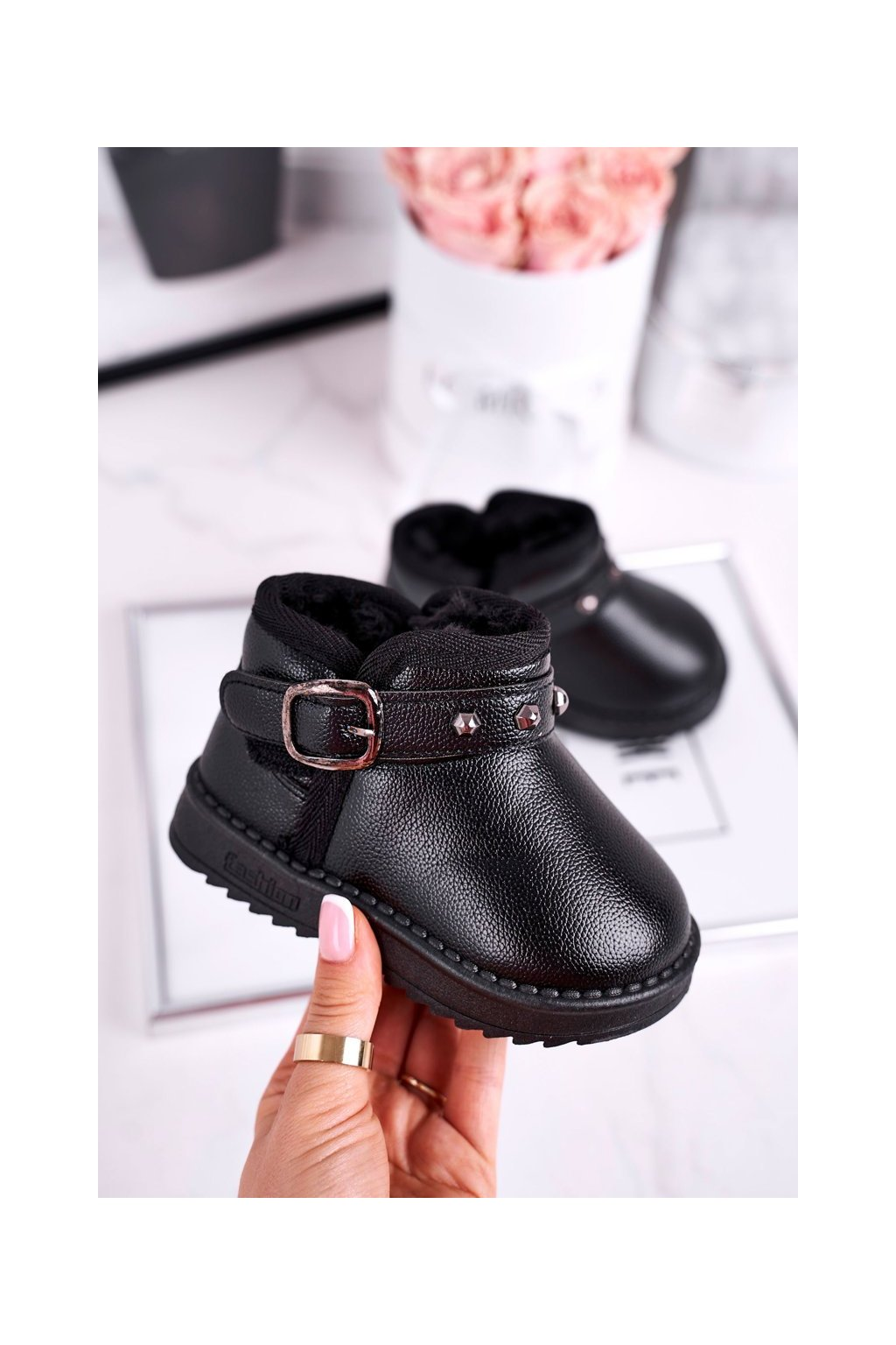 Detské členkové topánky farba čierna kód obuvi PD163 / PD164 BLK