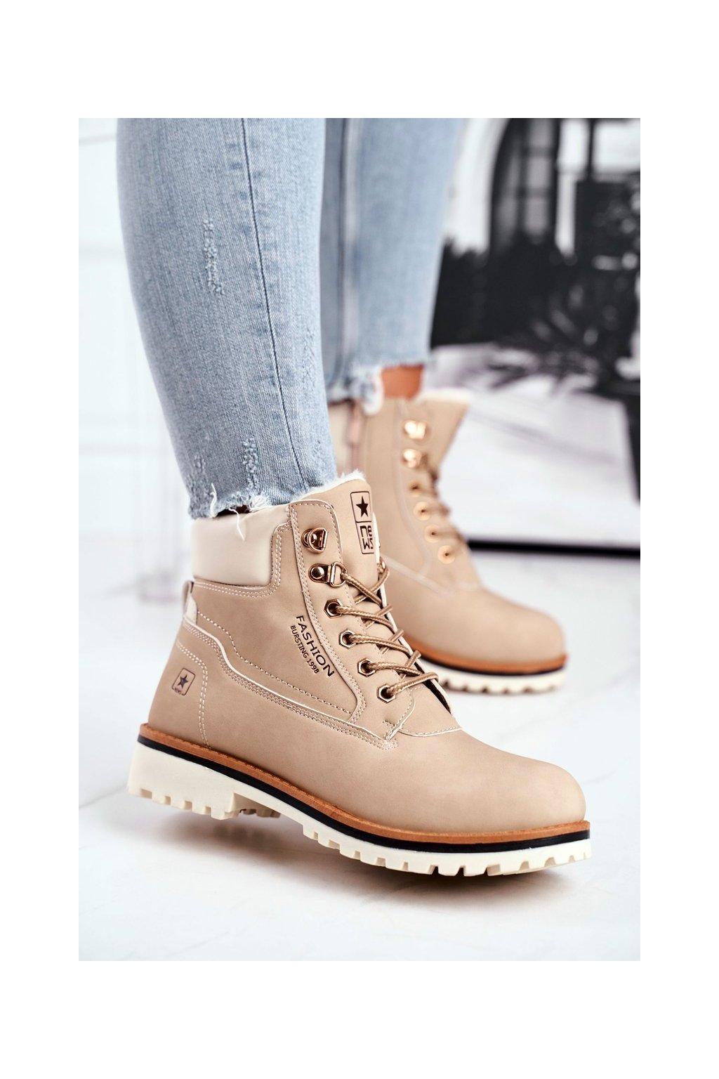 Členkové topánky na podpätku farba hnedá kód obuvi 20BT26-3040 BEIGE