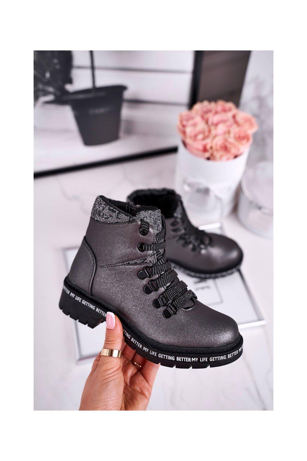 Detské členkové topánky farba sivá kód obuvi 20DZ60-3232 GREY