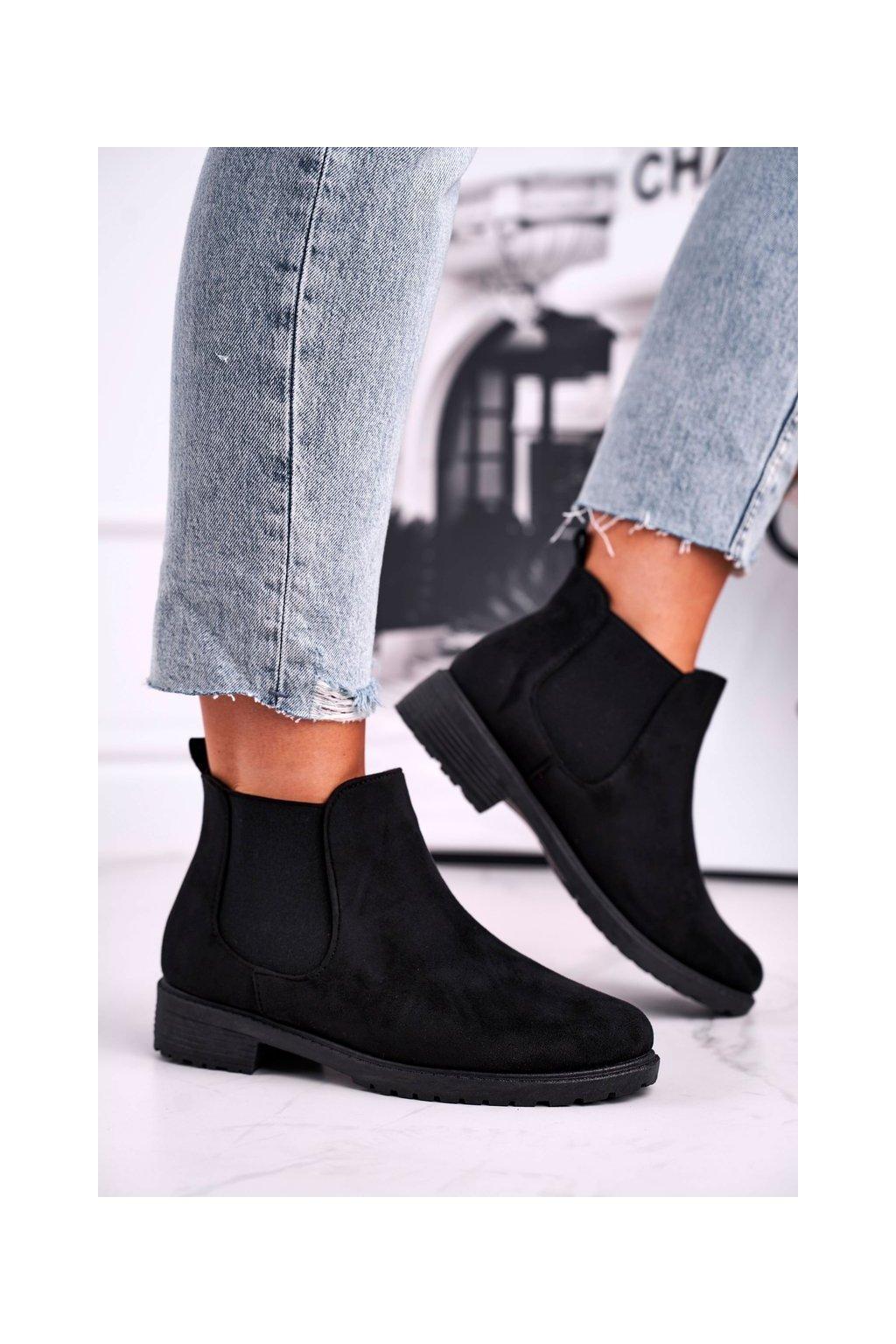 Členkové topánky na podpätku farba čierna kód obuvi XY2653-1 BLK