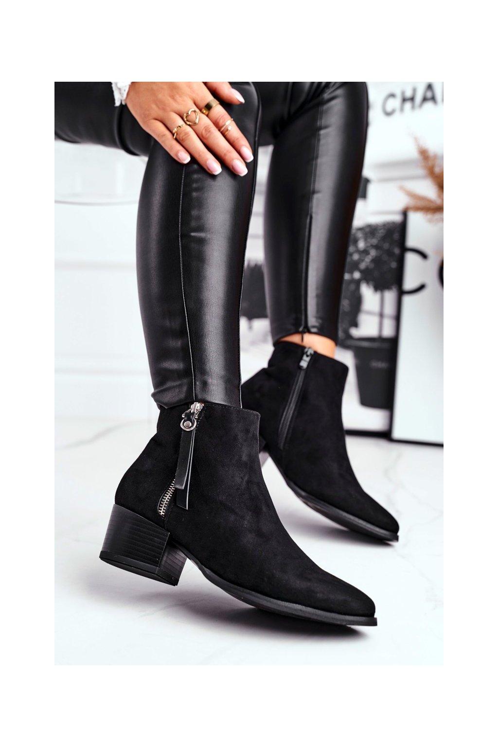 Členkové topánky na podpätku farba čierna kód obuvi 20BT35-3028 BLK