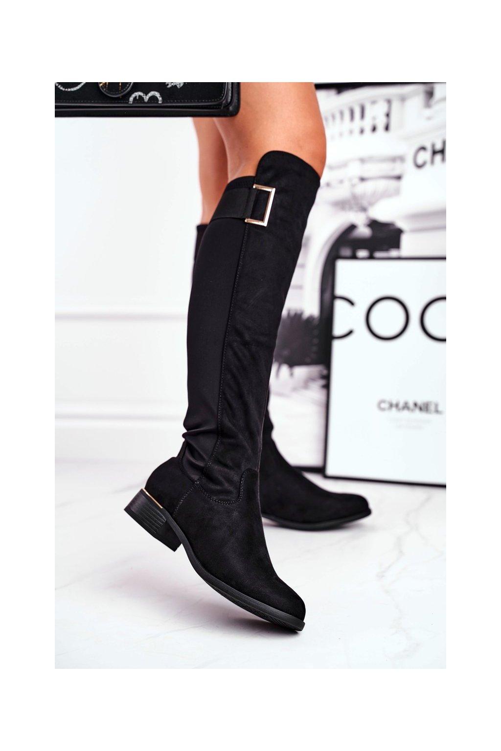 Dámske čižmy farba čierna kód obuvi 20KZ35-3326 BLK