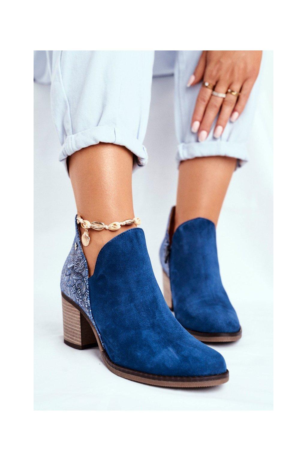 Členkové topánky na podpätku farba modrá NJSK 04492-17/00-5 GRANATOWE