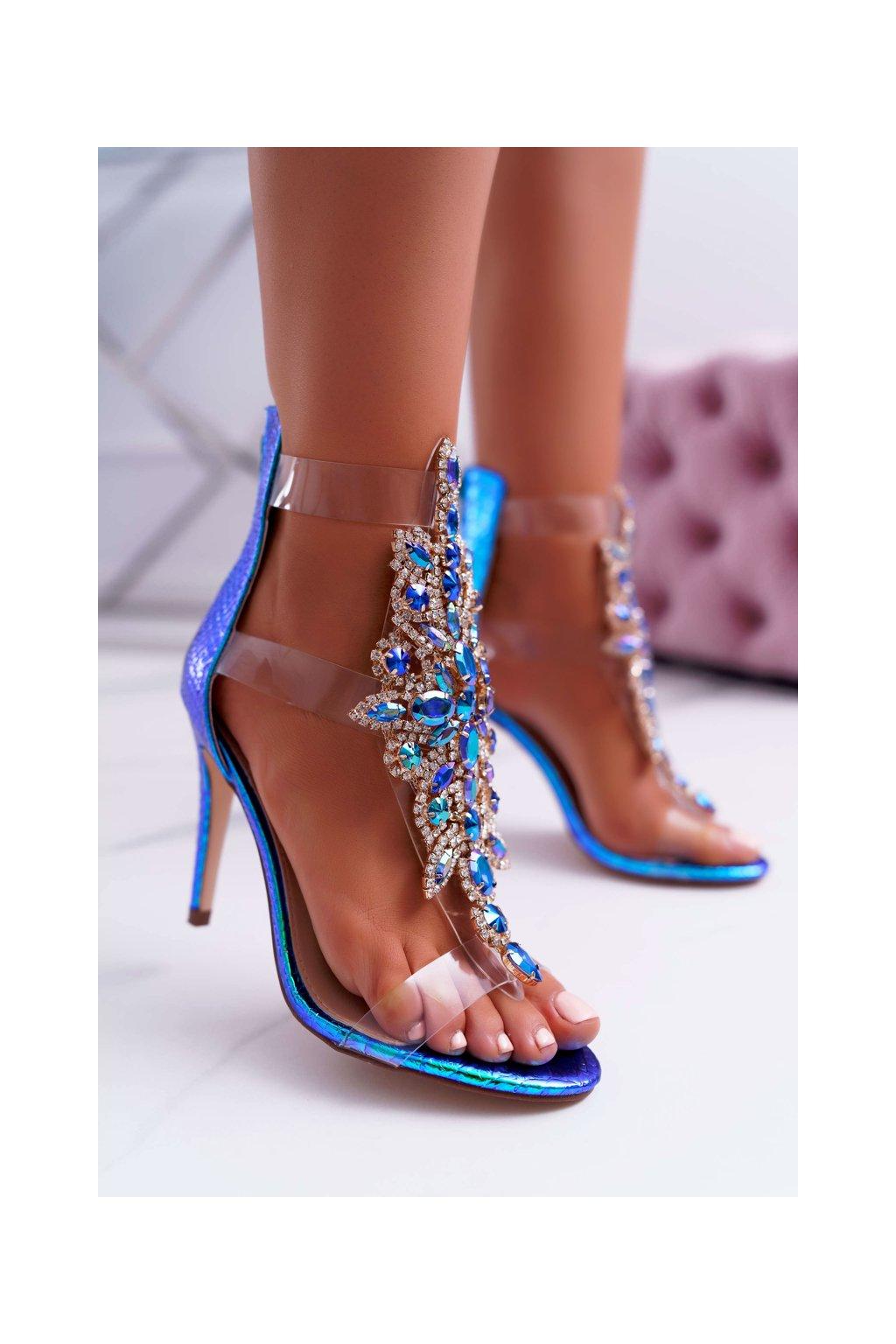 Dámske sandále na podpätku farba modrá NJSK 2047-89 BLUE