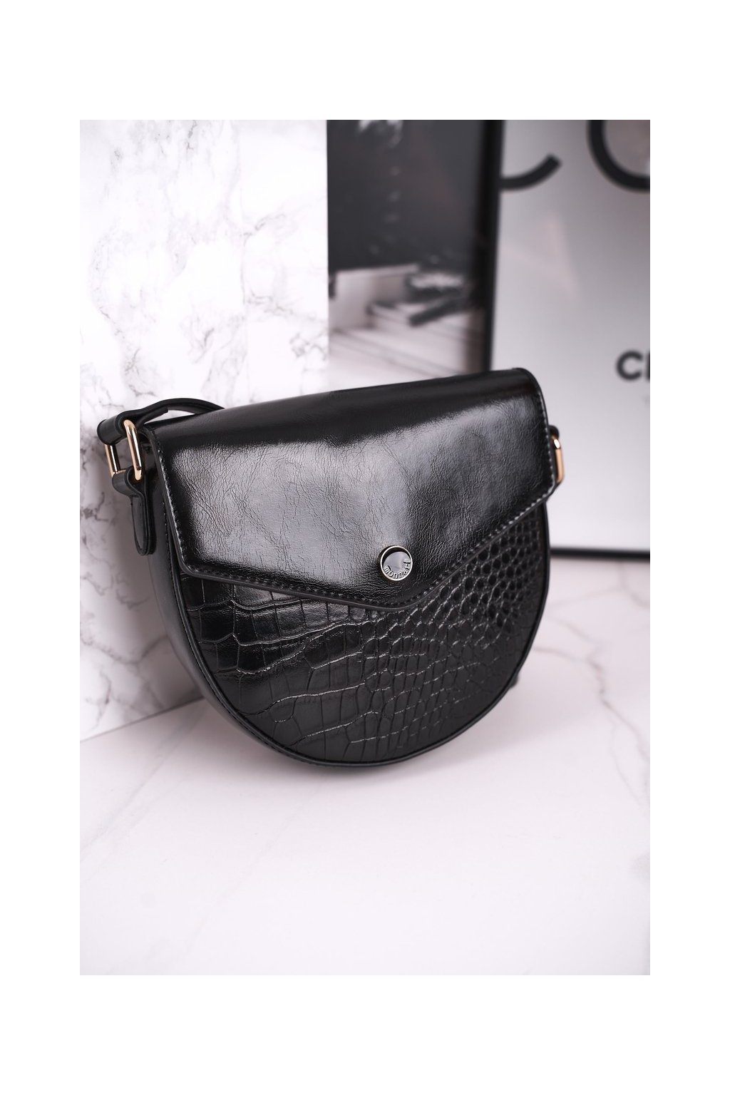 Dámska kabelka čierna kód kabelky BAG5710-020 BLK PRINT ZWIERZĘCY
