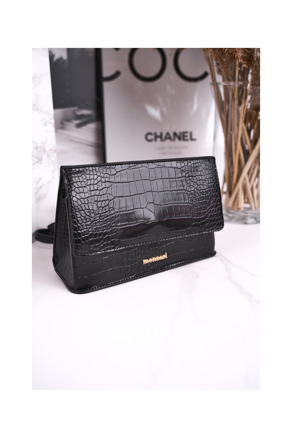 Dámska kabelka čierna kód kabelky BAG5450-020 BLK PRINT ZWIERZĘCY