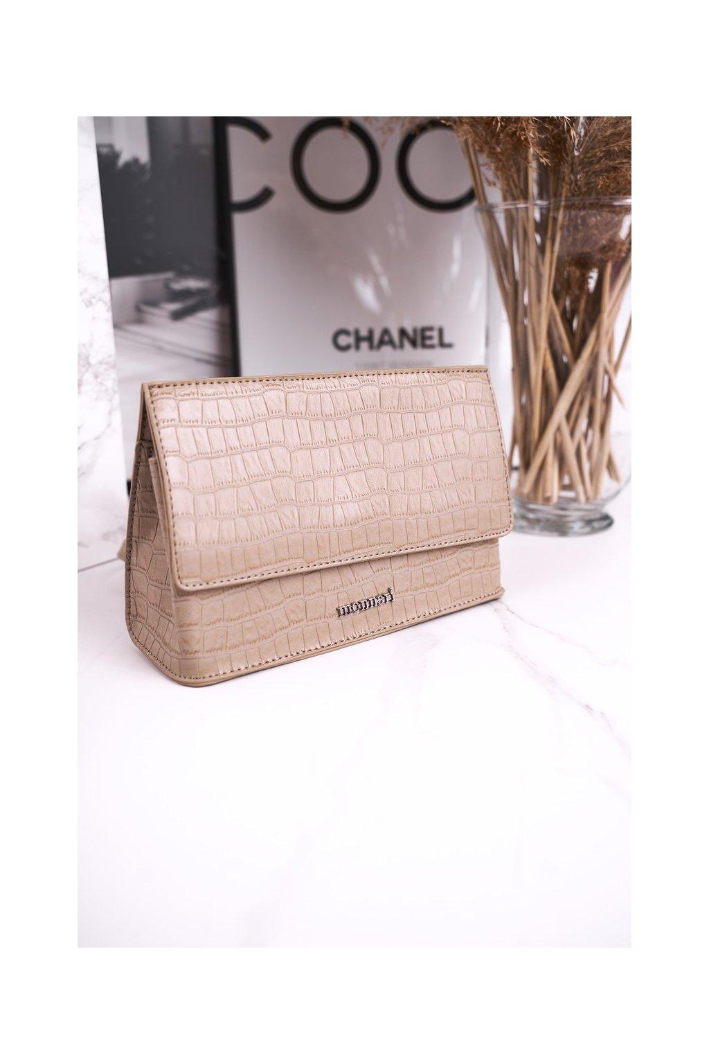 Dámska kabelka hnedá kód kabelky BAG5450-015 BEŻOWY PRINT ZWIERZĘCY