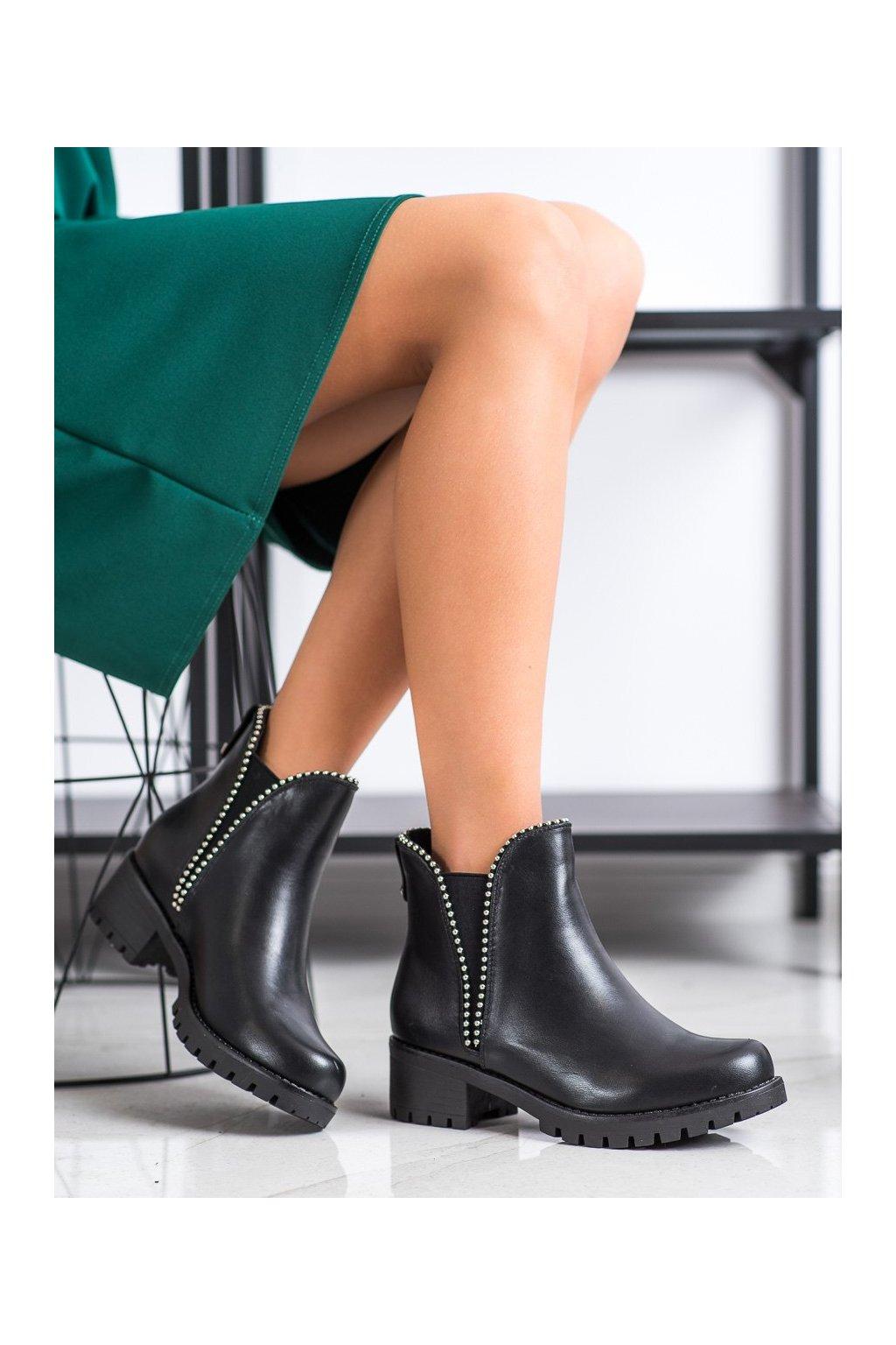 Čierne dámske topánky Sds kod 7371-PA-B