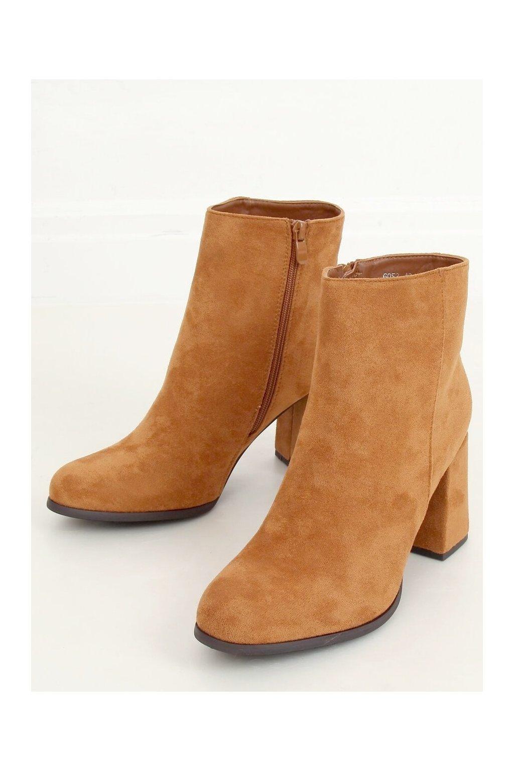 Dámske členkové topánky hnedé na širokom podpätku 6053
