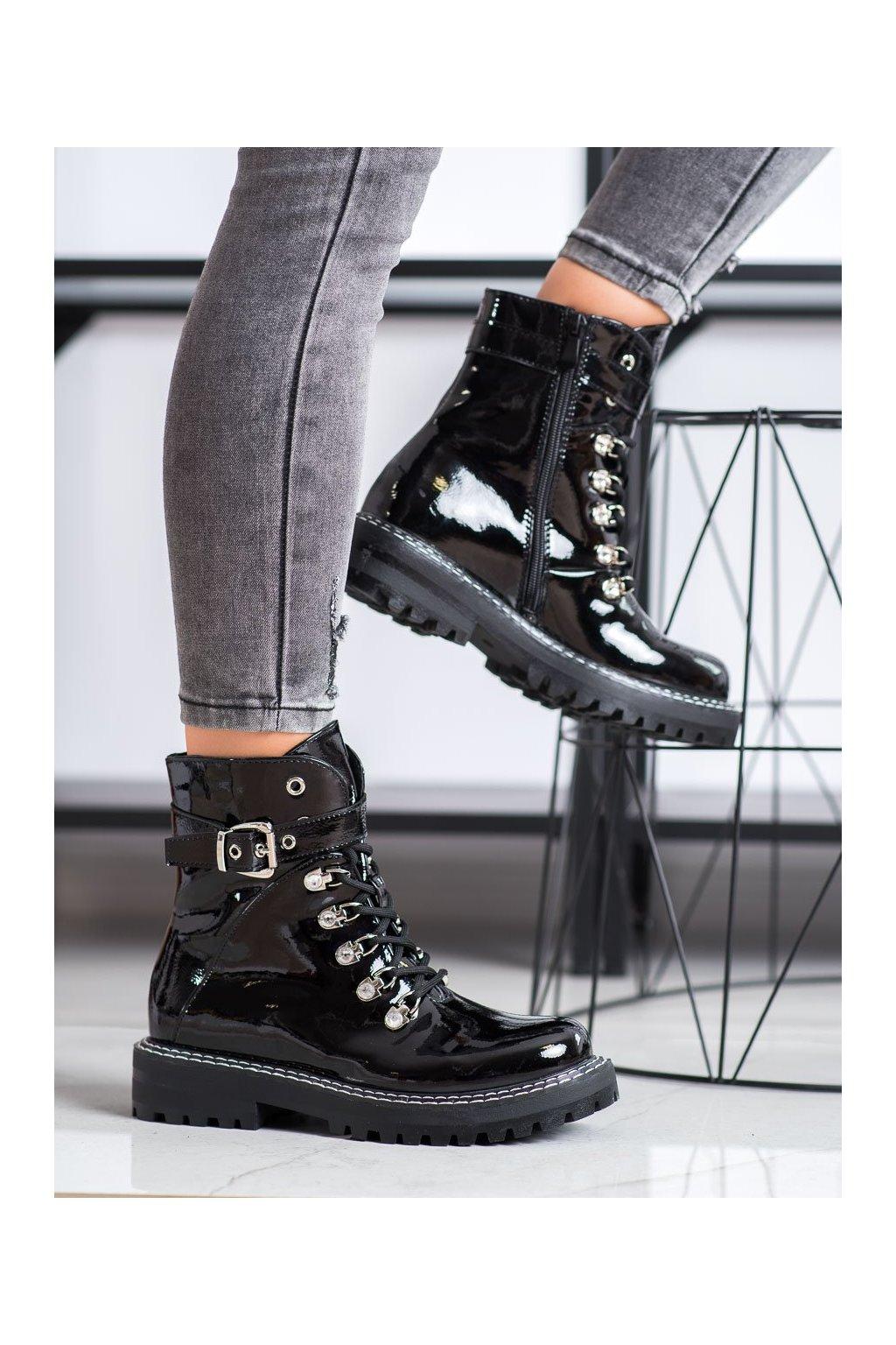 Čierne dámske topánky Sds kod 8120-PA-B