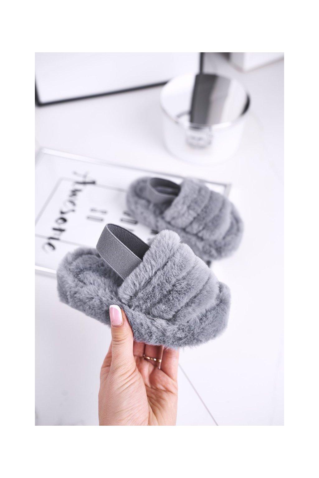 Detské šľapky farba sivá kód obuvi 7351-B GREY