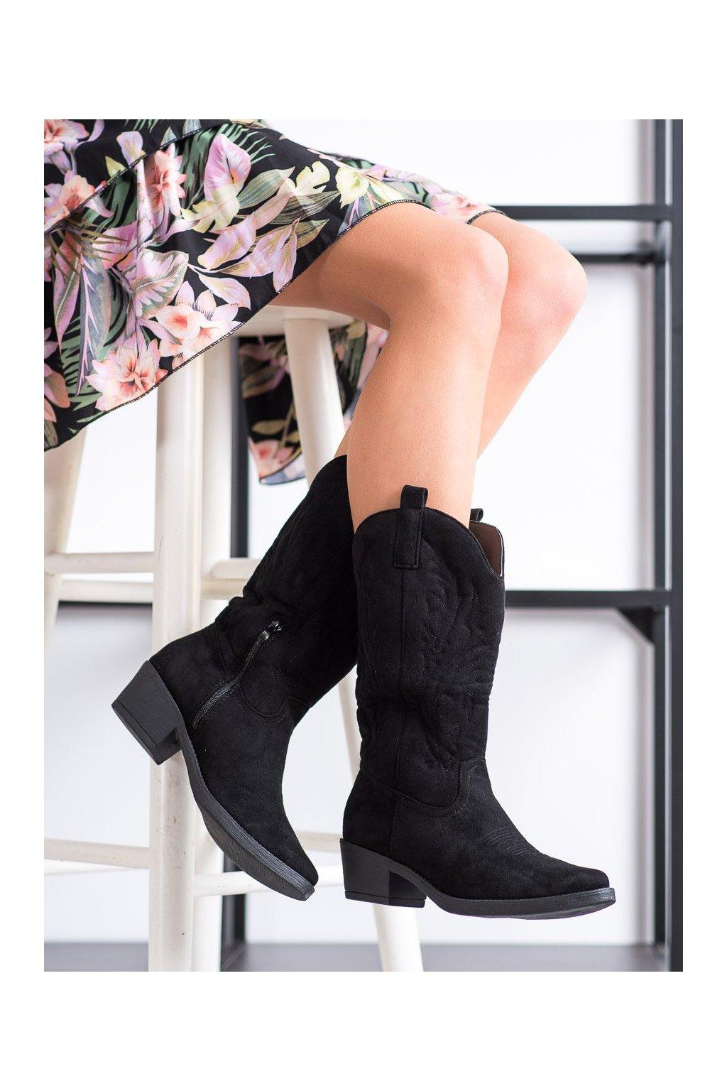 Čierne čižmy Ideal shoes kod MR-1881B