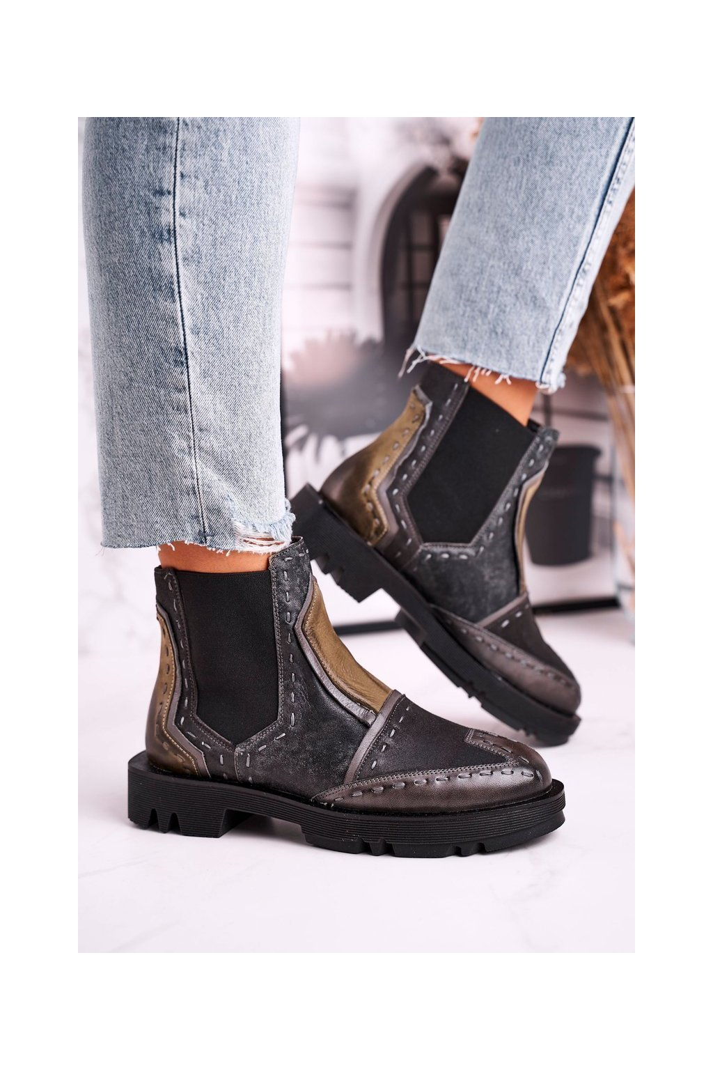 Členkové topánky na podpätku farba žltá kód obuvi 04634-03 GREY