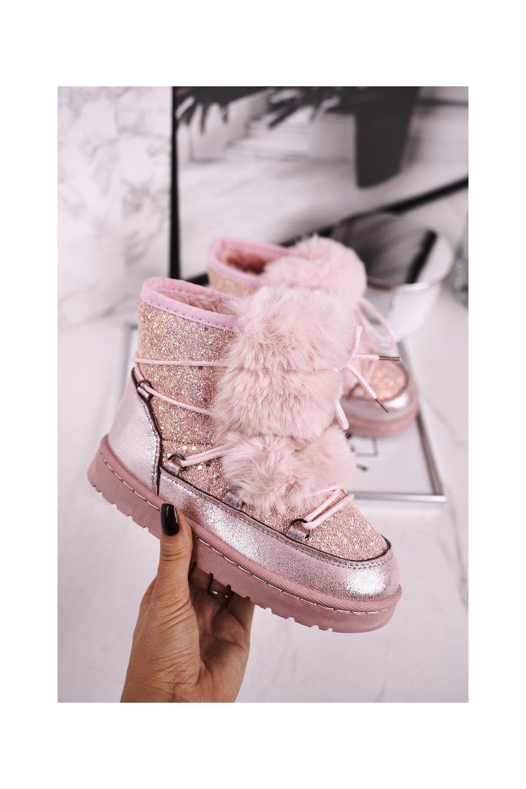 Detské snehule farba ružová kód obuvi 20216-1C PINK