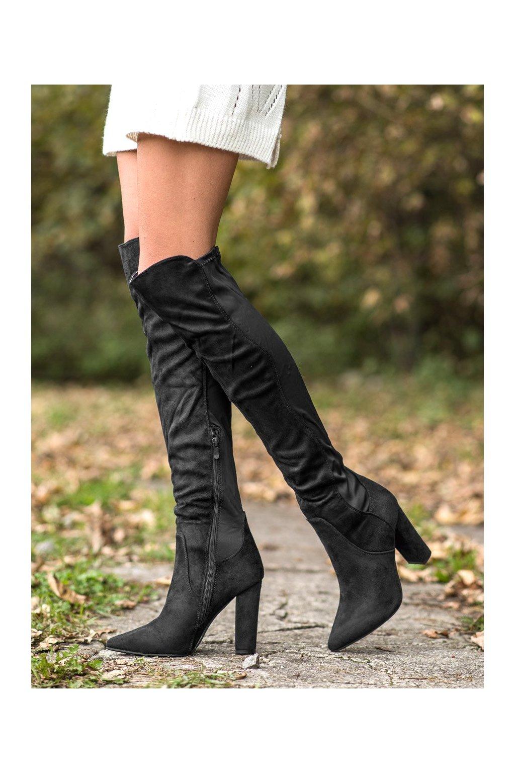 Čierne čižmy Sweet shoes kod D7506B