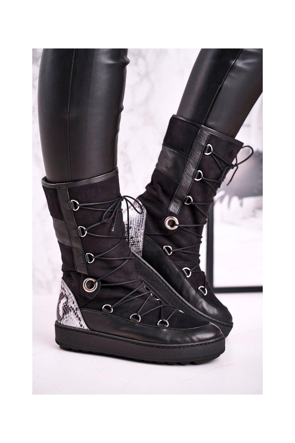 Členkové topánky na podpätku farba čierna kód obuvi 2054 BLK