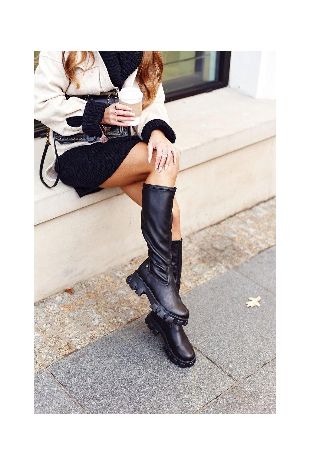 Dámske čižmy farba čierna kód obuvi 04842-01 BLACK