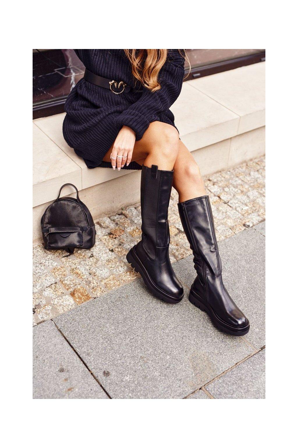 Dámske čižmy farba čierna kód obuvi RB97 BLACK