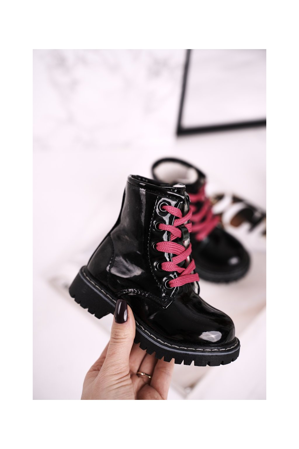 Detské členkové topánky farba čierna kód obuvi E08161-1/D08161-1 BLK/PINK