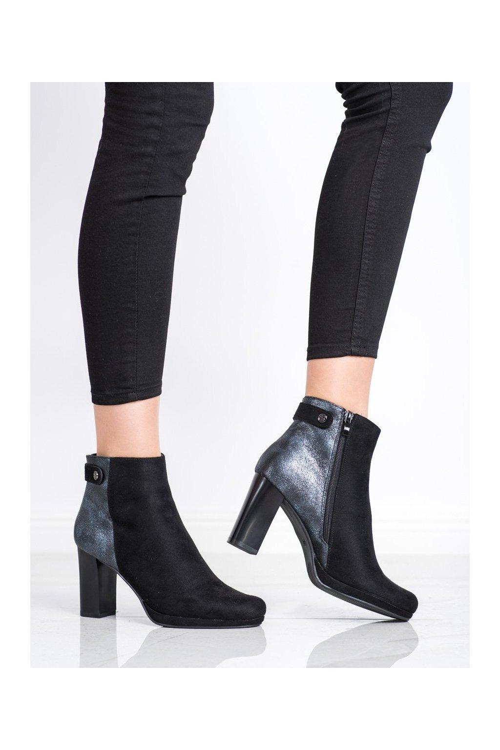 Čierne dámske topánky Daszyński kod AF125-1B