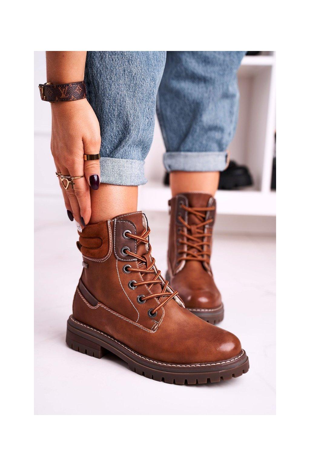 Členkové topánky na podpätku farba hnedá kód obuvi 2218 CAMEL