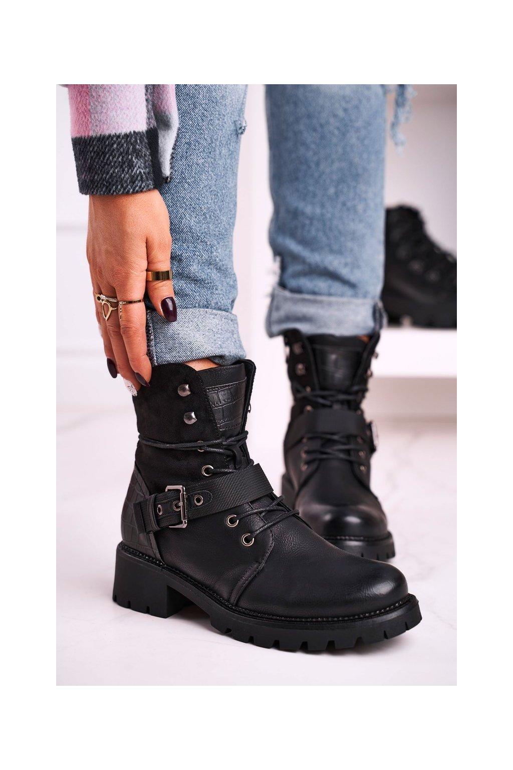Členkové topánky na podpätku farba čierna kód obuvi 88177 BLK