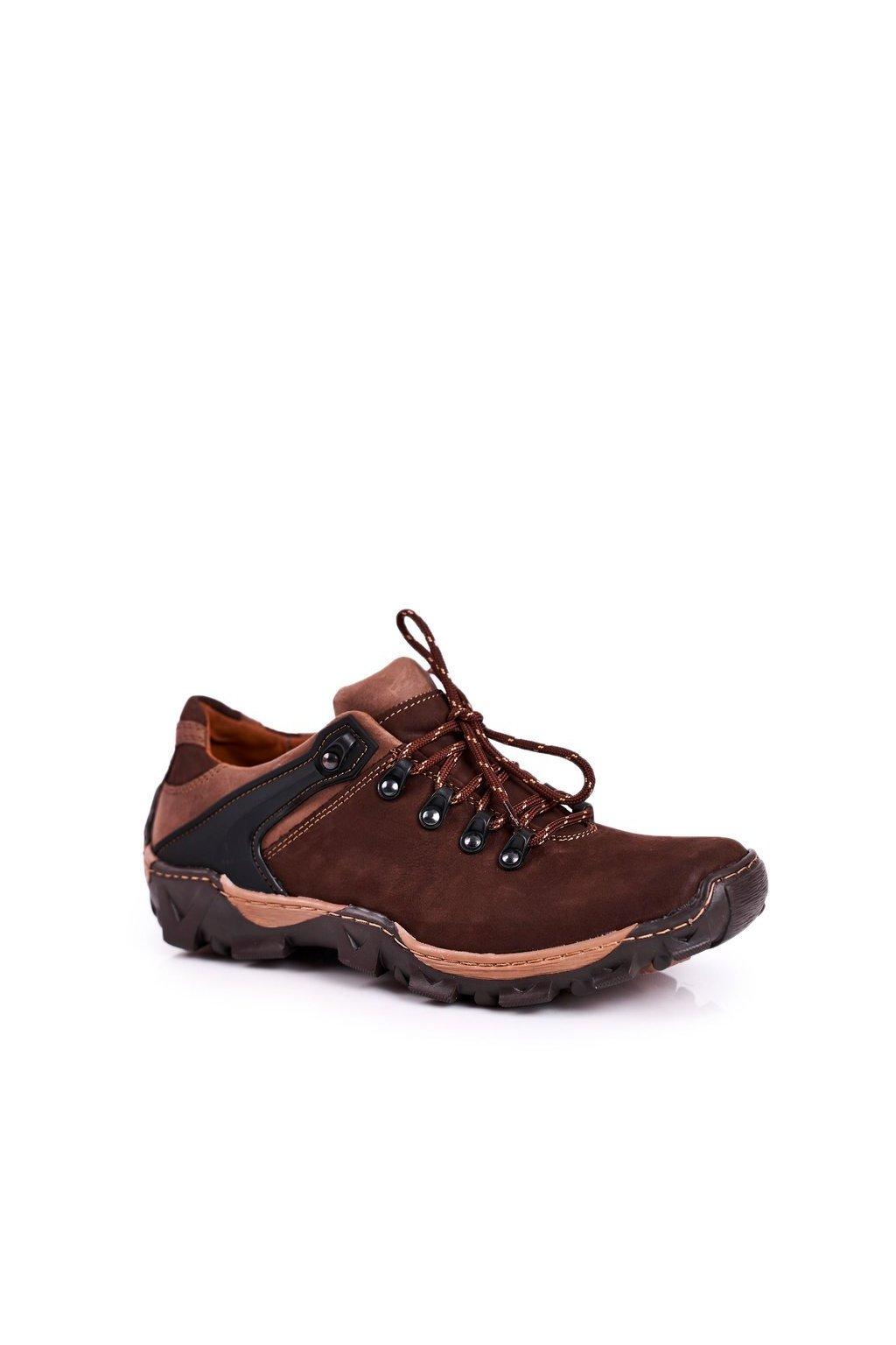 Pánske trekingové topánky farba hnedá kód obuvi 116 D. BROWN