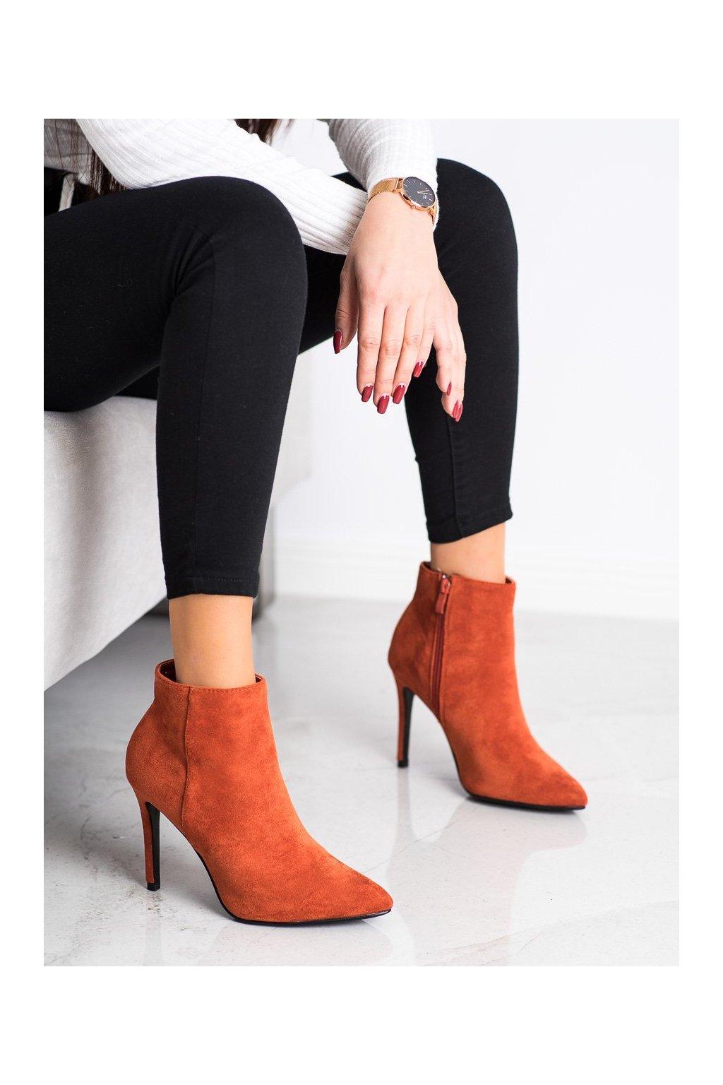 Oranžové dámske topánky Small swan kod OM5407OR