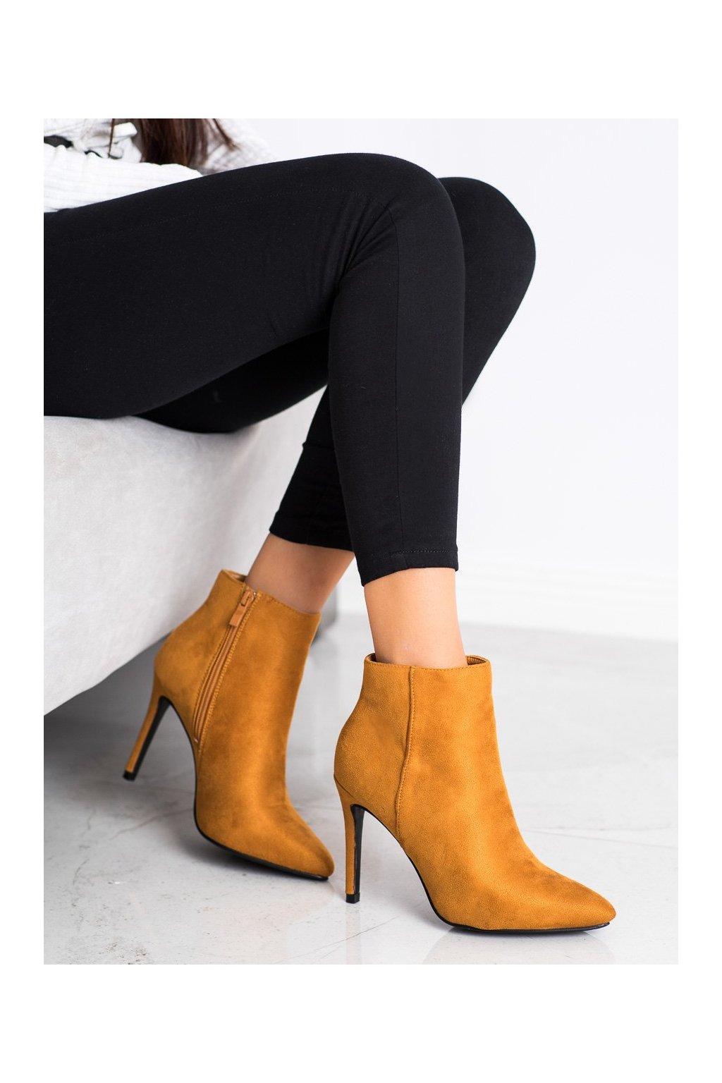 Žlté dámske topánky Small swan kod OM5407Y