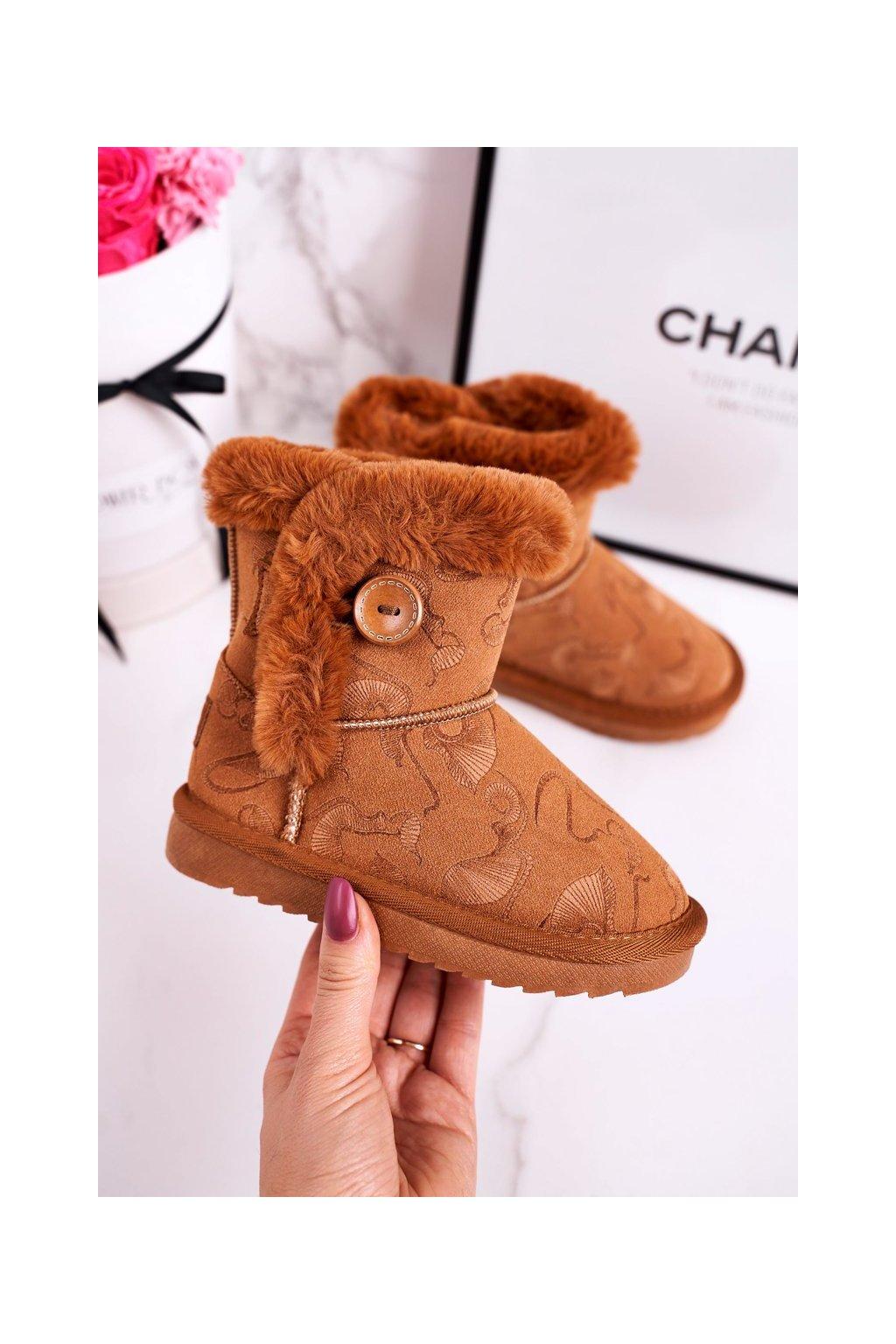Detské snehule farba hnedá kód obuvi N222/N223 CAMEL