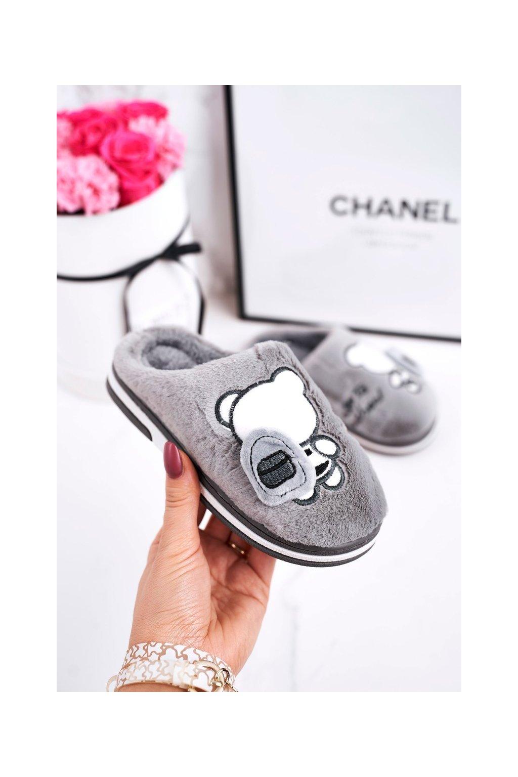 Detské šľapky farba sivá kód obuvi WG-218 GREY