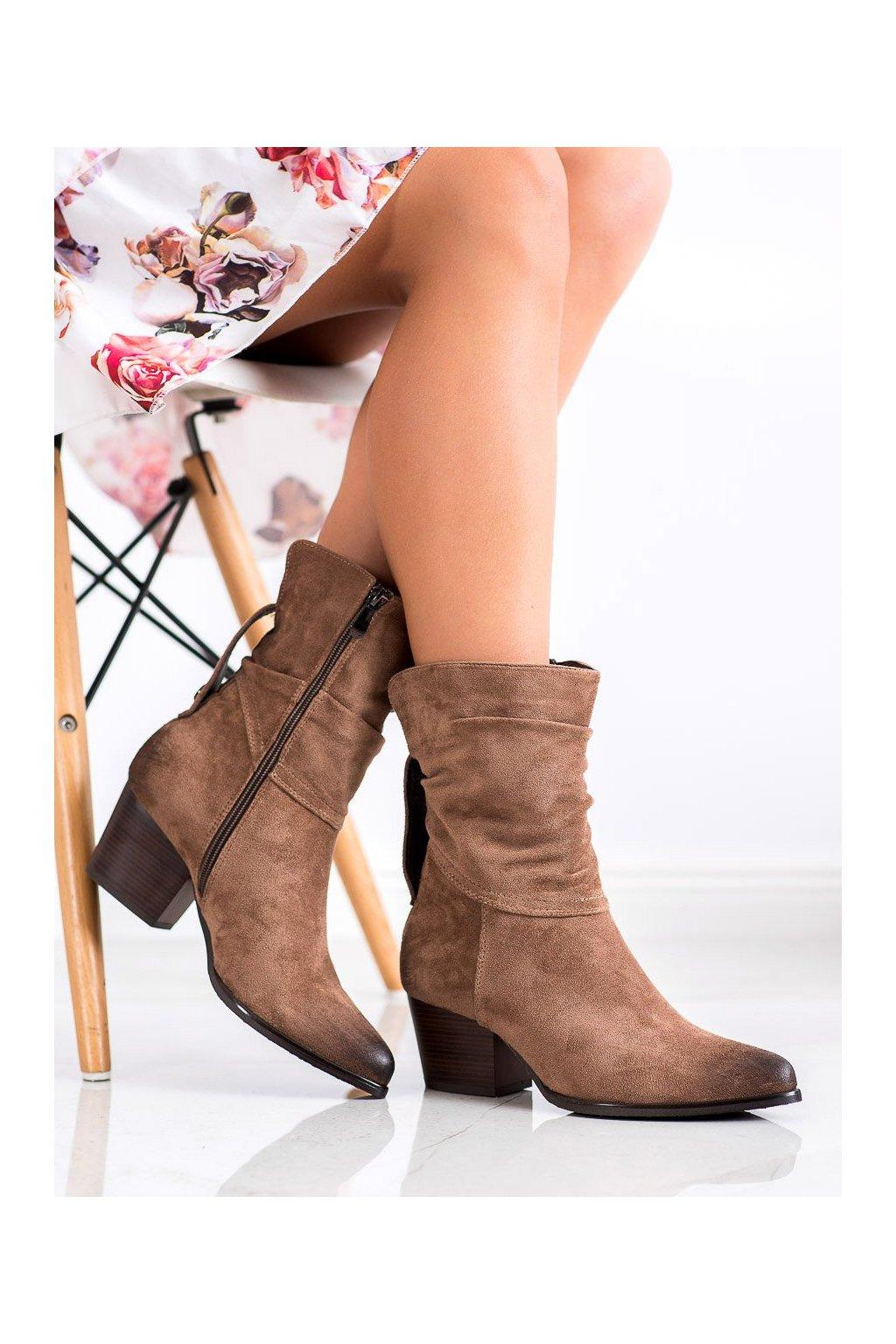 Hnedé dámske topánky Vinceza kod XY21-10544D.BE