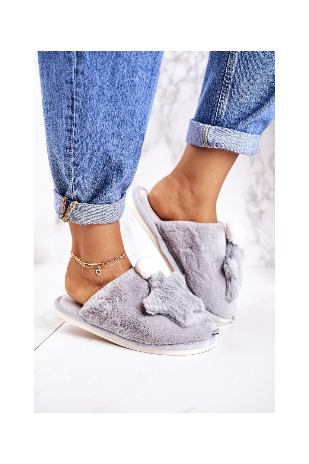 Dámske šľapky farba sivá kód obuvi D0151 GREY