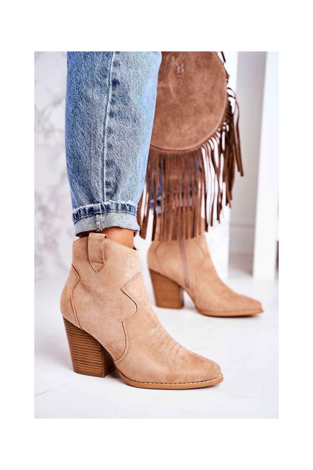 Členkové topánky na podpätku farba hnedá kód obuvi A5602-63 KHAKI