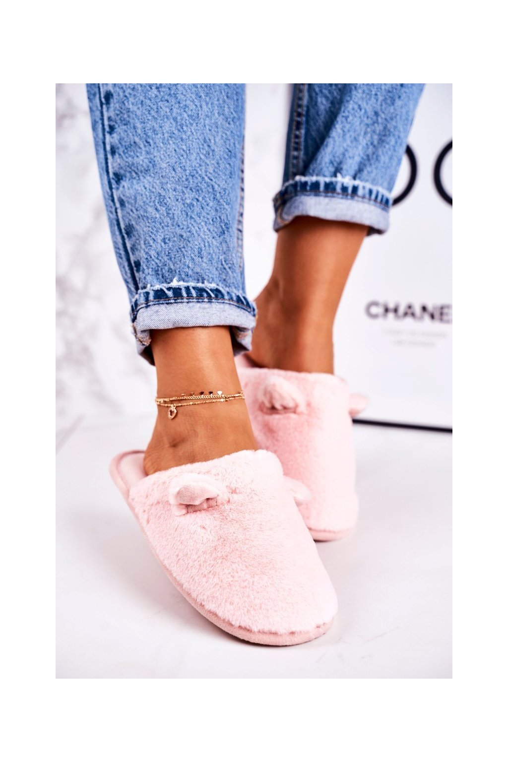 Dámske šľapky farba ružová kód obuvi KP01-3 PINK