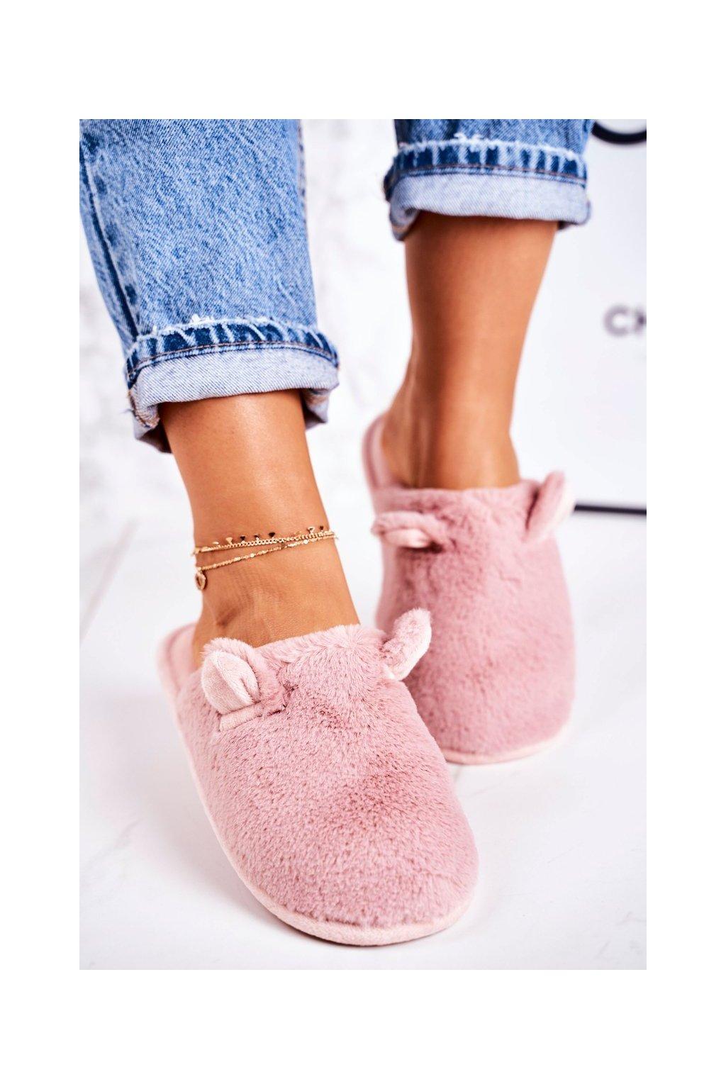 Dámske šľapky farba ružová kód obuvi KP01-12 D.PINK