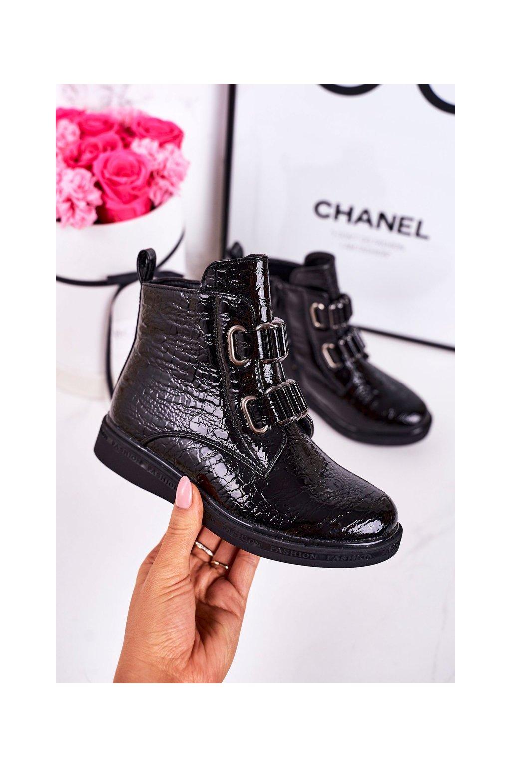 Detské členkové topánky farba čierna kód obuvi A4883-1 BLACK