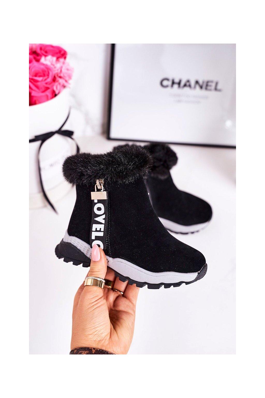 Detské členkové topánky farba čierna kód obuvi A2063 BLACK