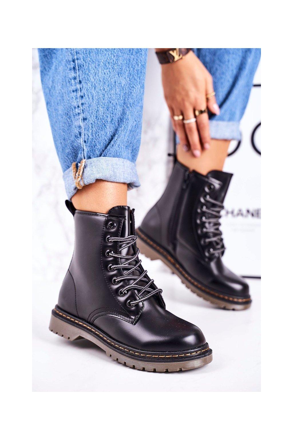 Členkové topánky na podpätku farba čierna kód obuvi TL142-2 BLK MATTE
