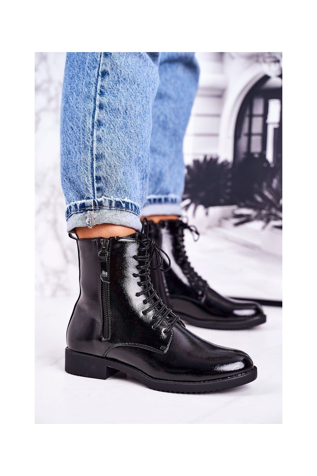 Členkové topánky na podpätku farba čierna kód obuvi A8315/B BLK