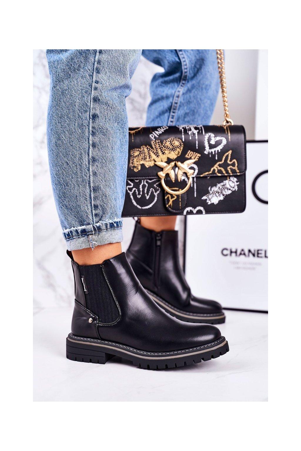 Členkové topánky na podpätku farba čierna kód obuvi 20Y8095-1 BLK