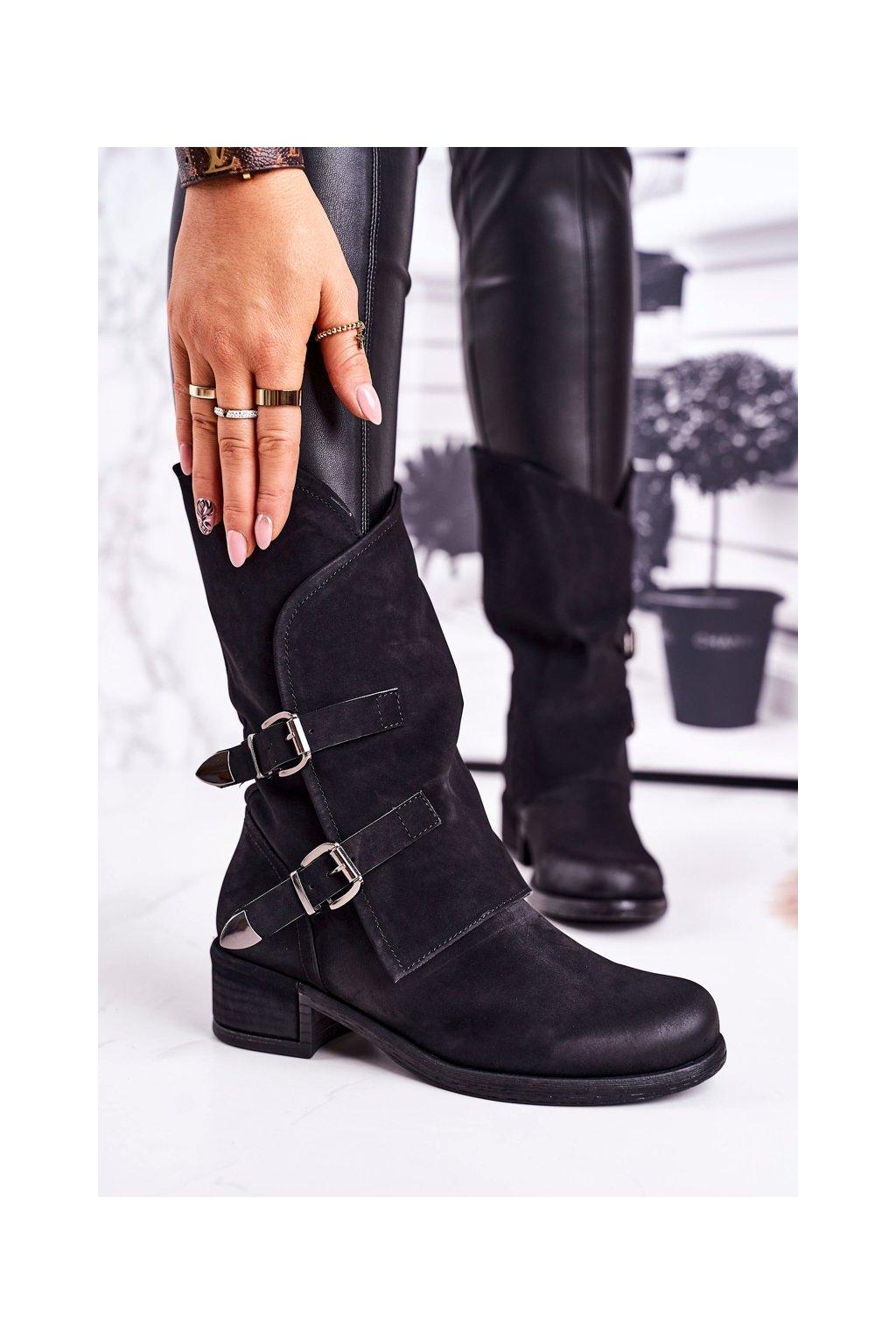 Členkové topánky na podpätku farba čierna kód obuvi ST33P BLK