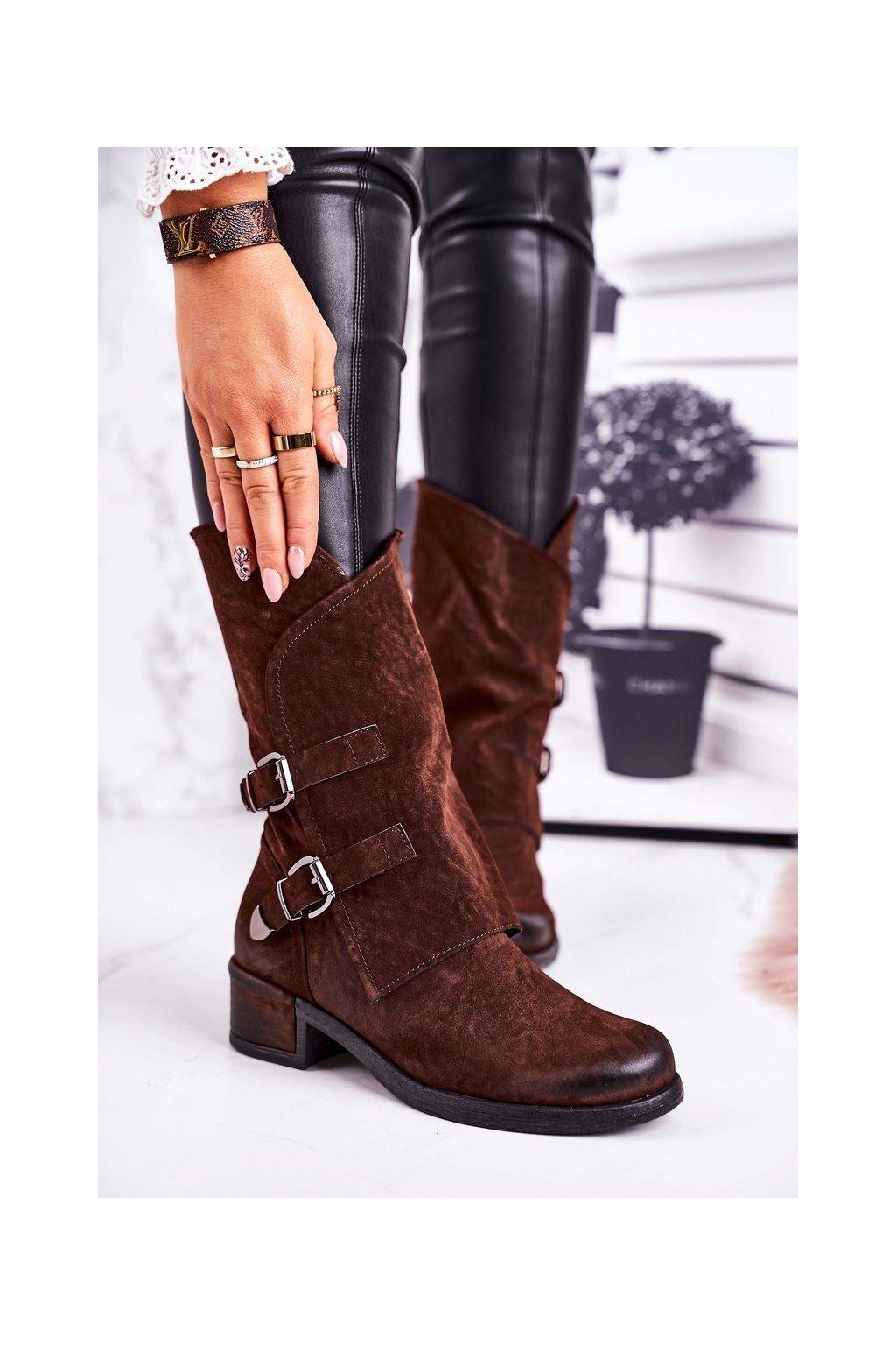 Členkové topánky na podpätku farba hnedá kód obuvi ST33P BROWN